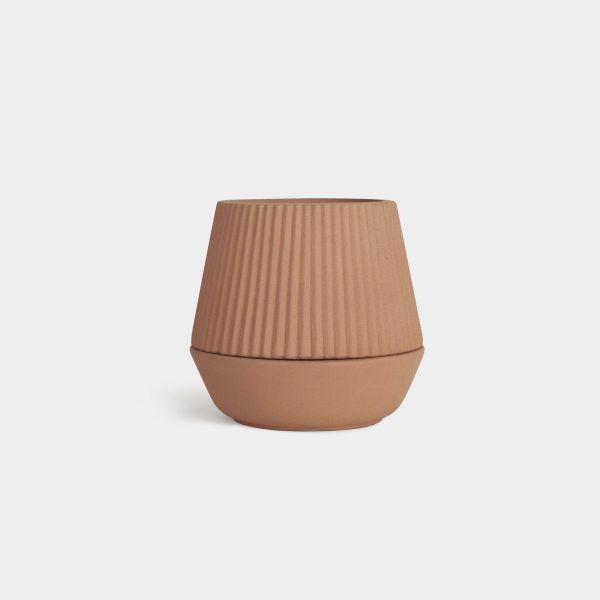 Umbra Ceramiczna Doniczka Stojąca Brązowa PLEATED