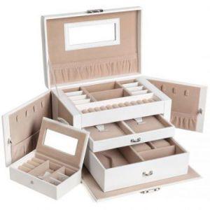 SONGMICS Pudełko na biżuterię 26X17X18cm Beżowe