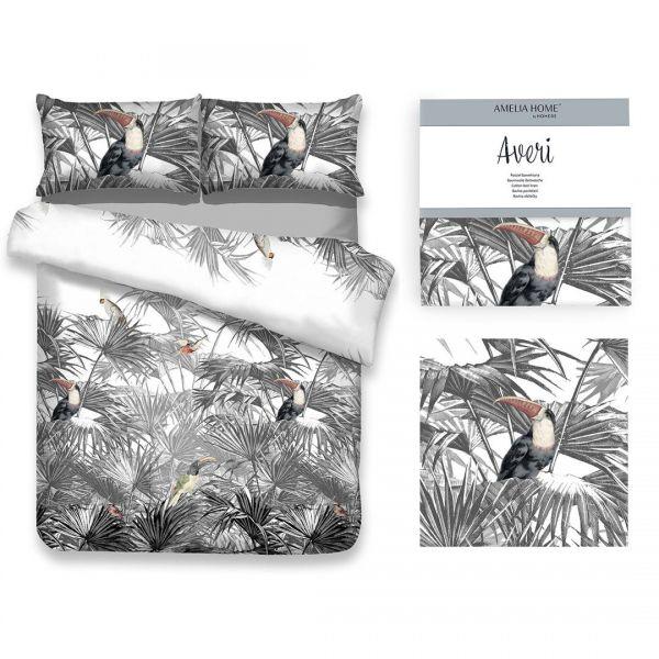 AmeliaHome Pościel bawełna TOUCAN 160x200 + 70x80*2 szaro biała