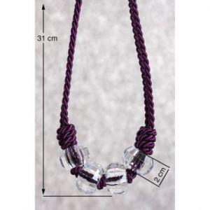 Upinacz dekoracyjny sznur z węzłami fiolet + transparentny