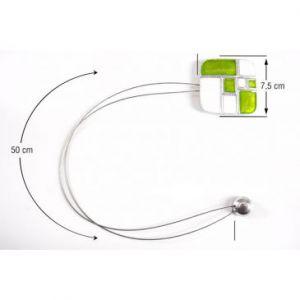 Upinacz dekoracyjny z magnesem biały/zielony