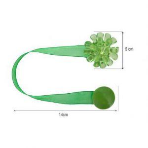 Upinacz dekoracyjny z magnesem kwiatek zielony x2