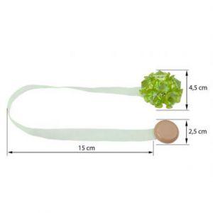 Upinacz dekoracyjny z magnesem kwiatek jasny zielony x2