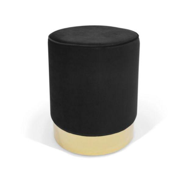 Pufa Luxury Velvet Tapicerowana Złote Zdobienie Czarna