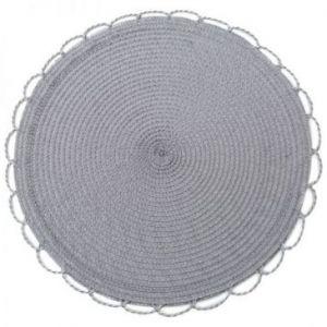 Podkładka na stół dekoracyjna pleciona TINA 38 cm stalowa x6