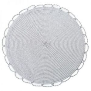 Podkładka na stół dekoracyjna pleciona TINA 38 cm srebrna x6