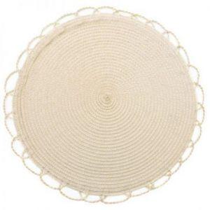 Podkładka na stół dekoracyjna pleciona TINA 38 cm beżowa x6