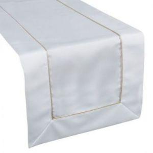 Bieżnik z lamówką w pudełku ADELE 40X200 biały + złoty